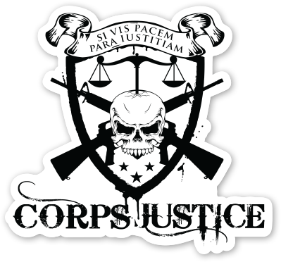 Corps Justice Black and white logo die cut decal